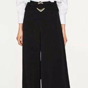 Zara Black Buckle Wide Leg Trousers